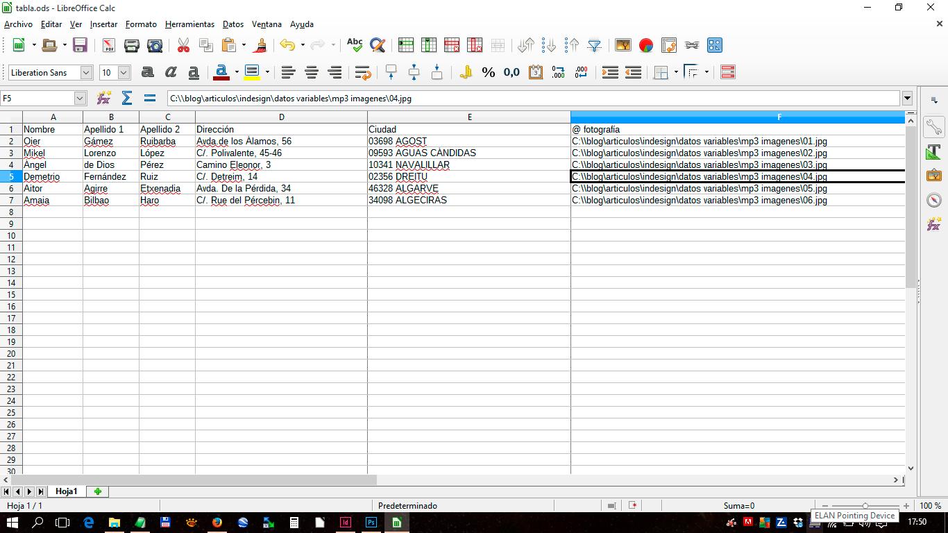Colocar datos variables en Adobe InDesign