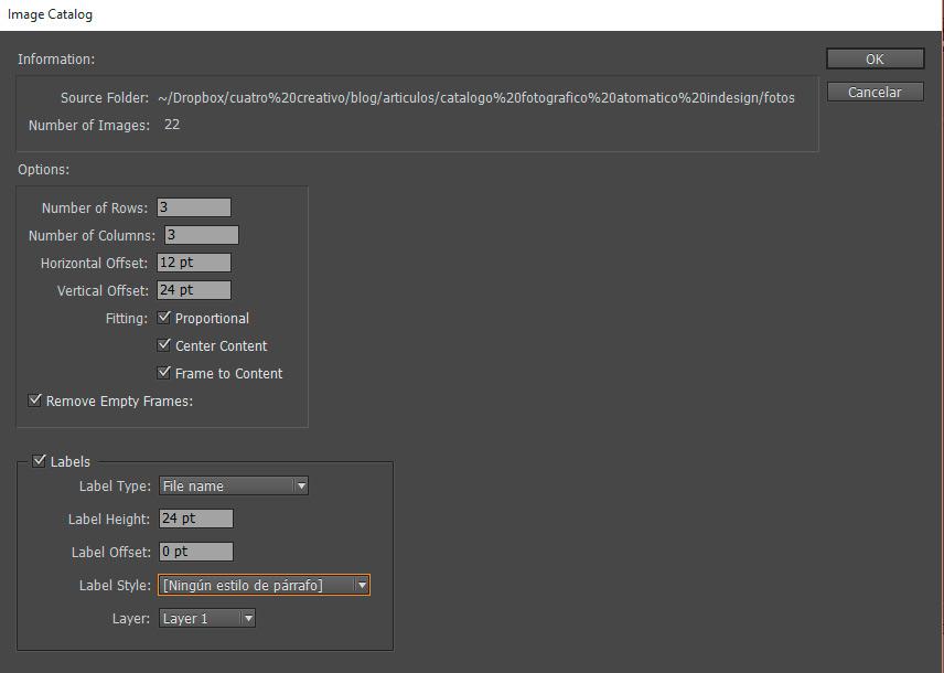 informacion y opciones script del catálogo de imágenes